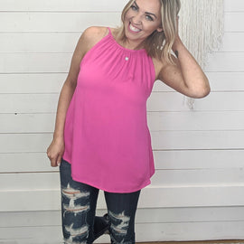 Jessie Hot Pink High Neck Tank