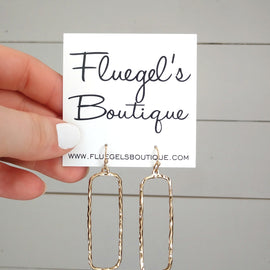 Textured Gold Rectangle Earring