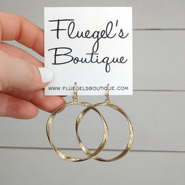 Gold Textured Curved Hoop