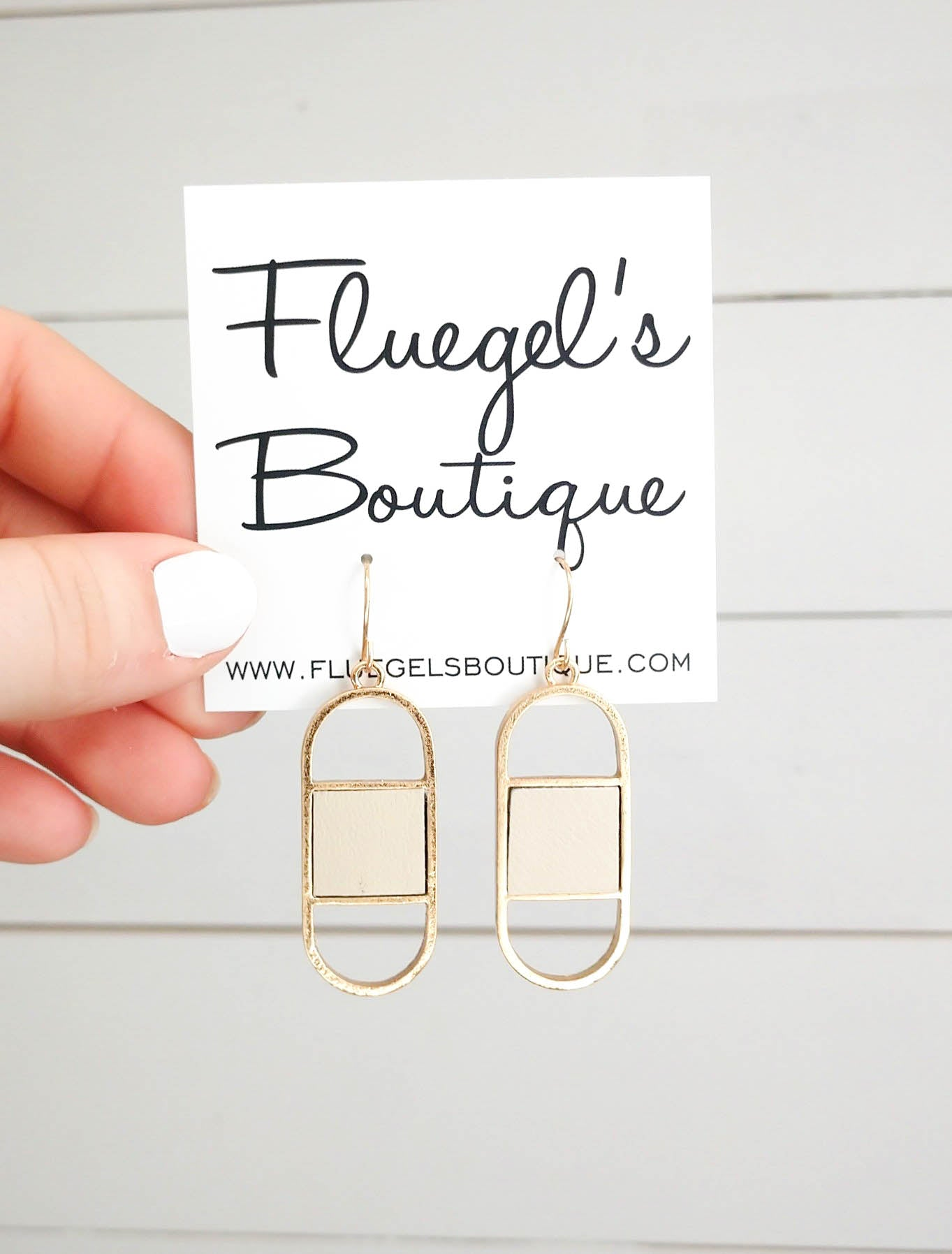 Nude Leather Patch Earring