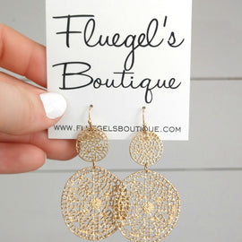 Gold Detailed Double Circle Earring
