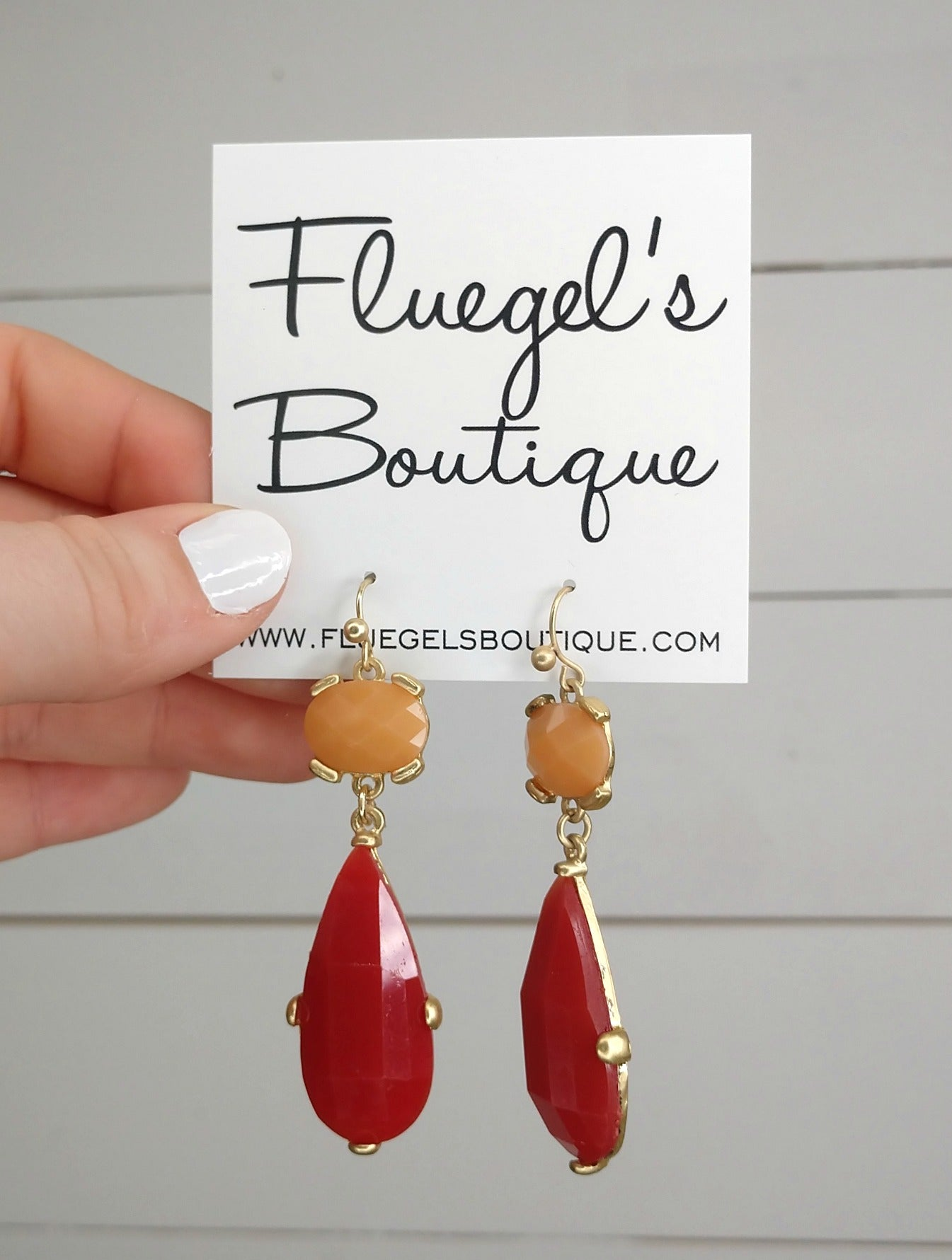 Red & Peach Drop Earring (was $12.50)