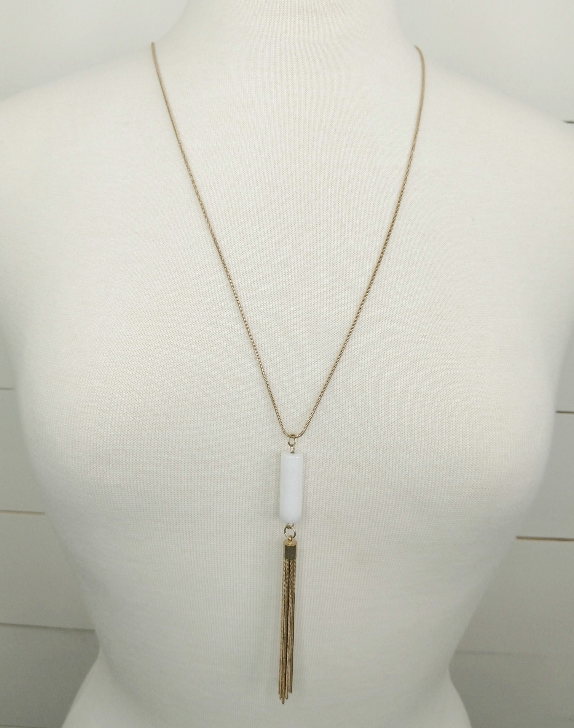 White Bead Dangle Necklace