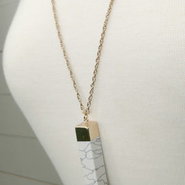White Marble Rectangle Necklace