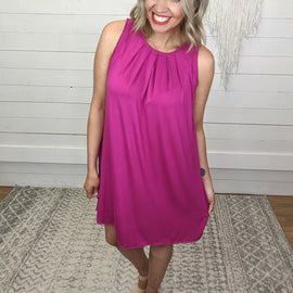 Eva Sleeveless Pintucked Raspberry Dress