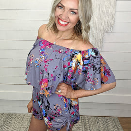 Frances Floral Off Shoulder Romper
