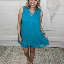 Joy Teal Lace Dress