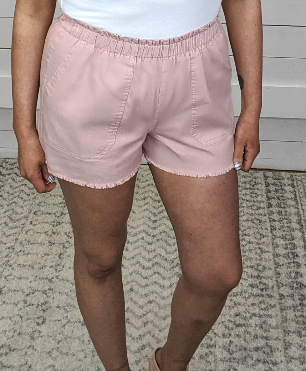 Freyed Hem Shorts - Lt Pink *Final Sale*