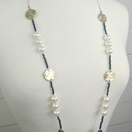 Nellie Black & Pearl Long Necklace