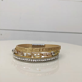 Irene Gold Beaded Magnetic Bracelet