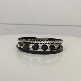 Sally Black Circle Magnetic Bracelet