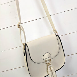 Saddle Tassel Crossbody - Beige