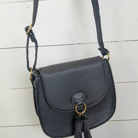 Saddle Tassel Crossbody - Black