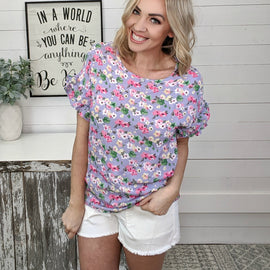 Courtney Periwinkle Floral Ruffle Top *Final Sale* Was $37