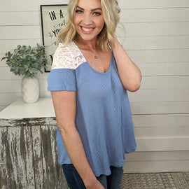 Dusty Lace Blue Top