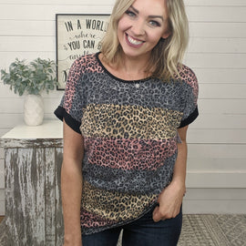 Nellie Striped Animal Print Top