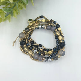 Claire Black & Gold Bead Bracelet Set