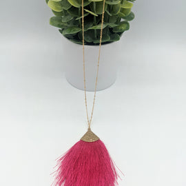 Jenna Fuschia Fringe Necklace