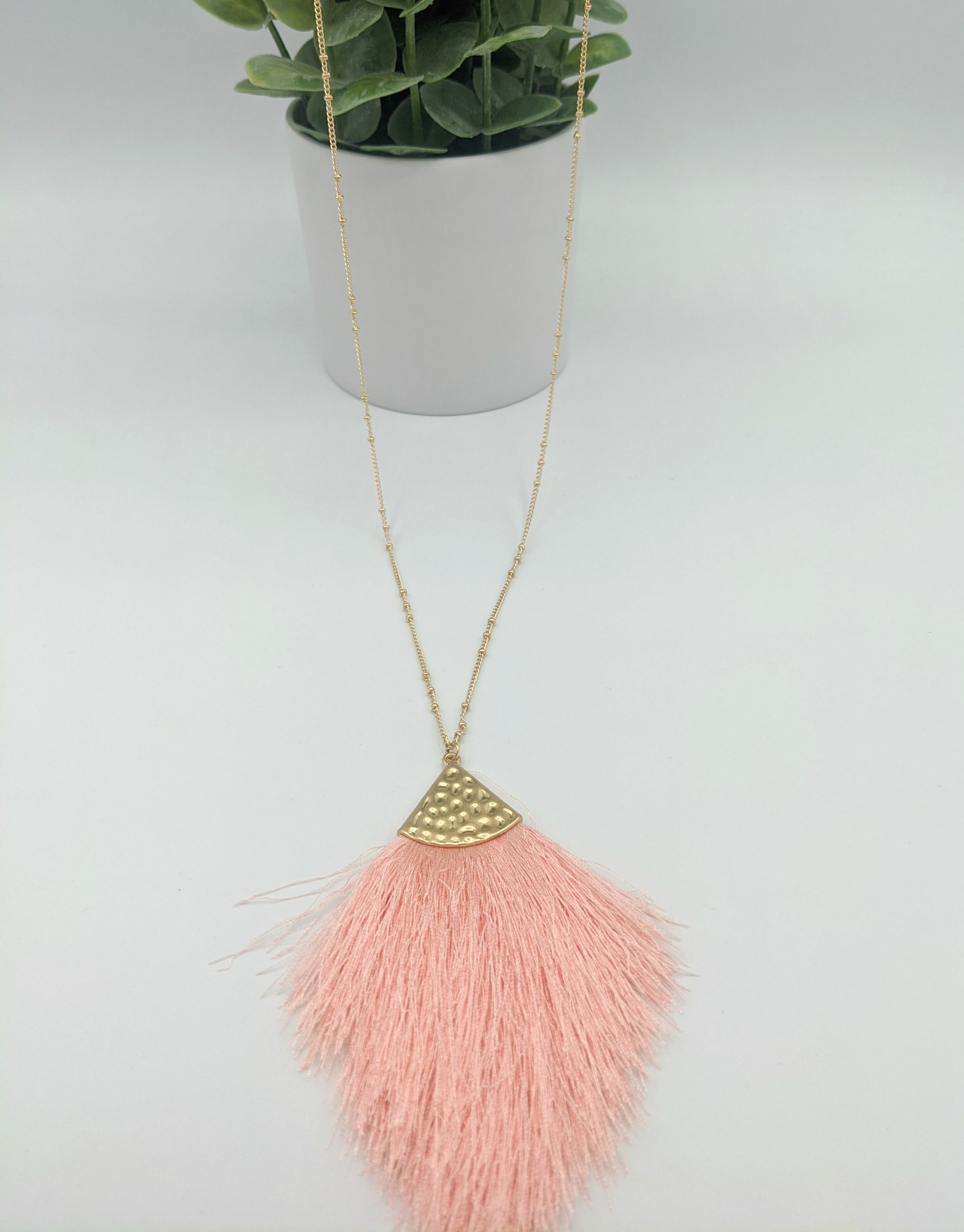 Jenna Fringe Necklace - Coral