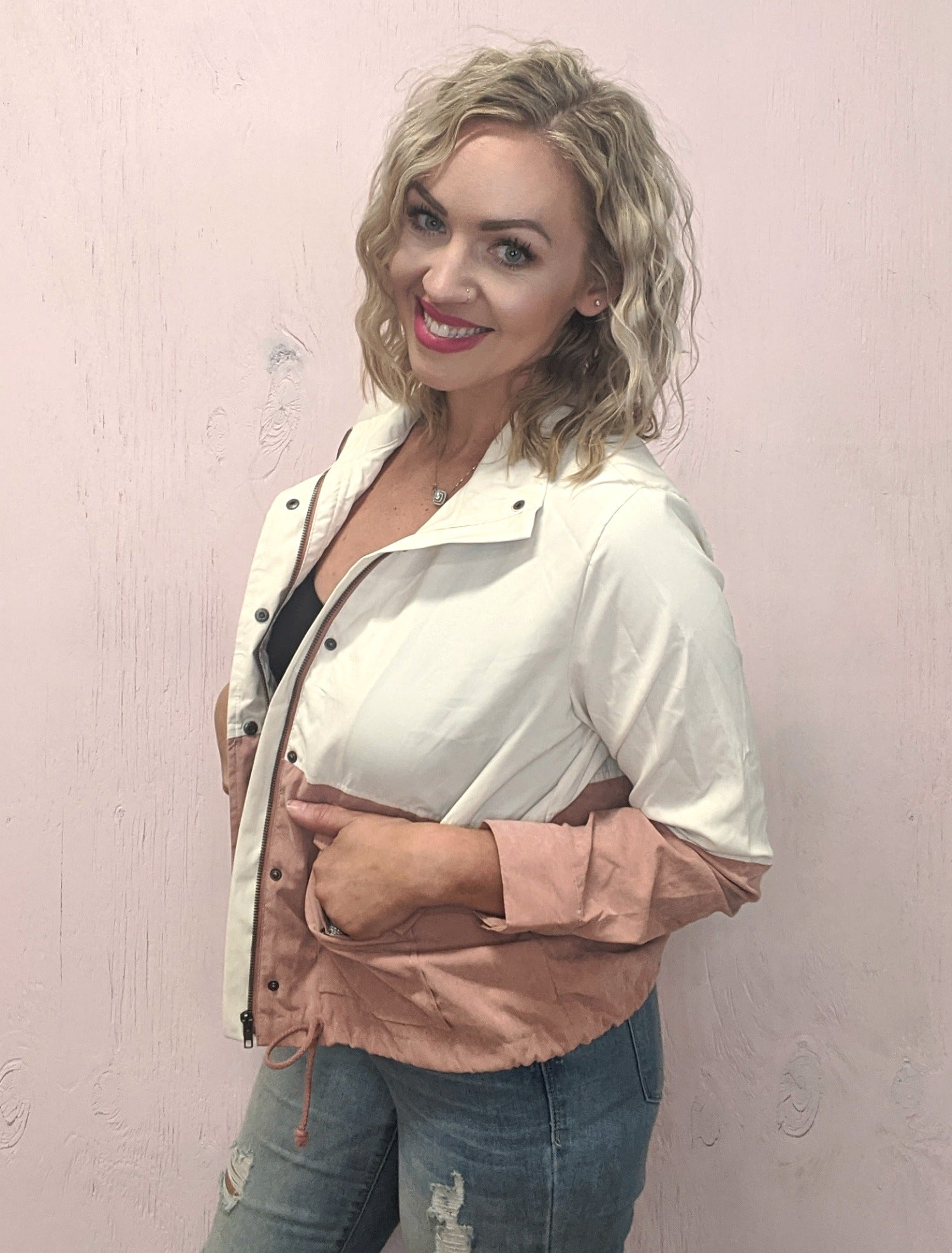 Hayley Ivory & Blush Colorblock Jacket