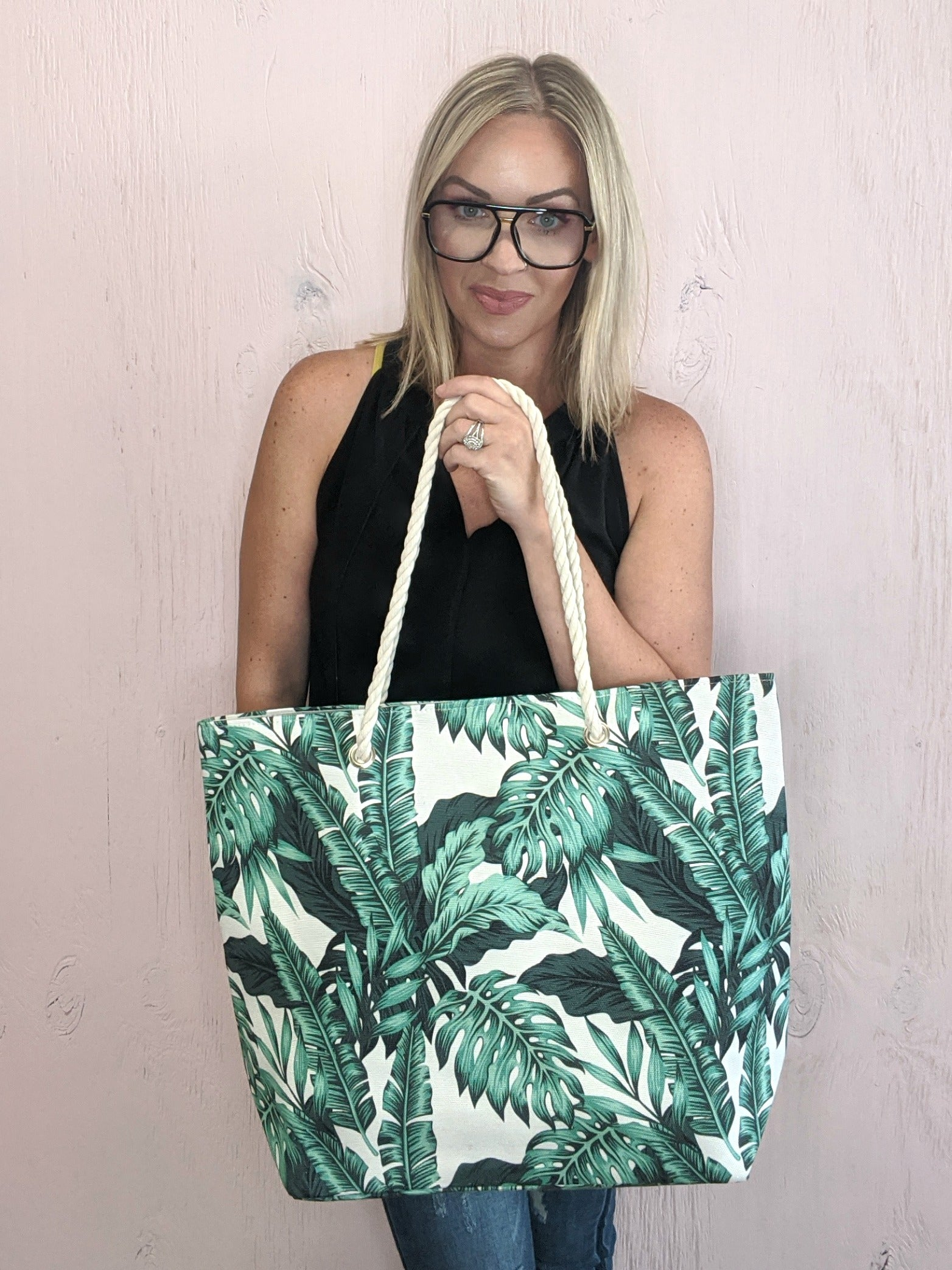 Green Palm Leaf Tote *Final Sale*