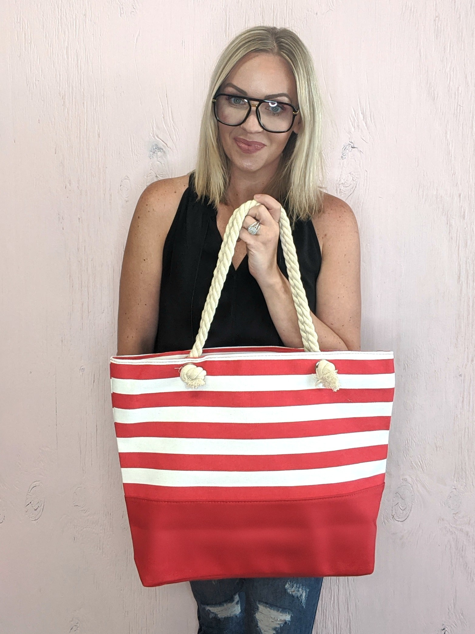 Red Stripe Canvas Tote *Final Sale*