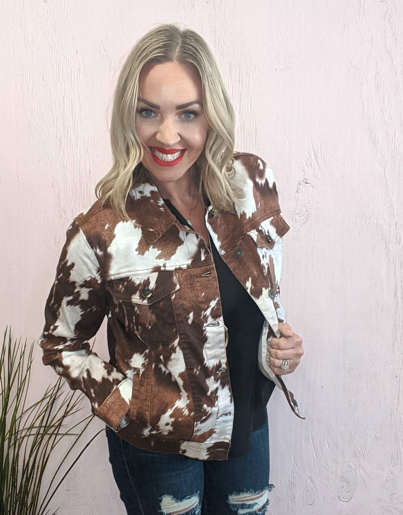 Lane Cowhide Print Denim Jacket