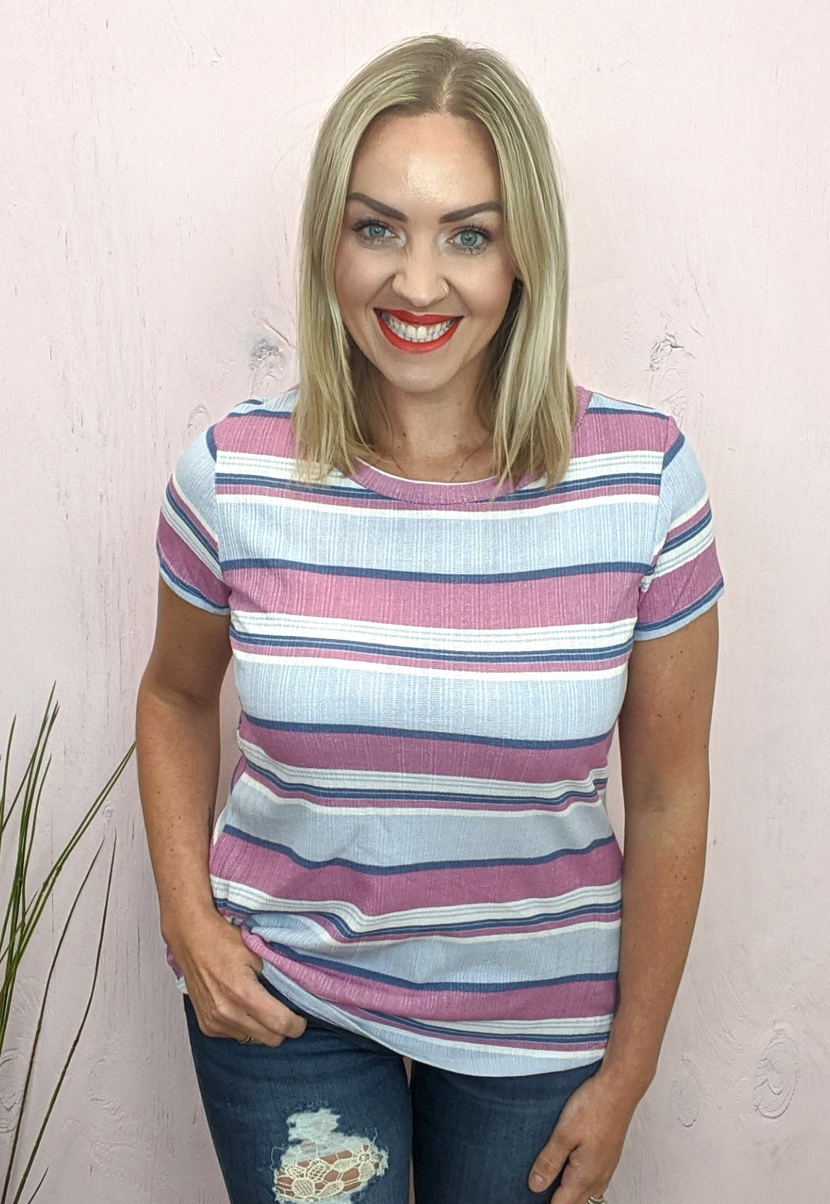 Bonnie Multi-Stripe Textured Top *Final Sale*