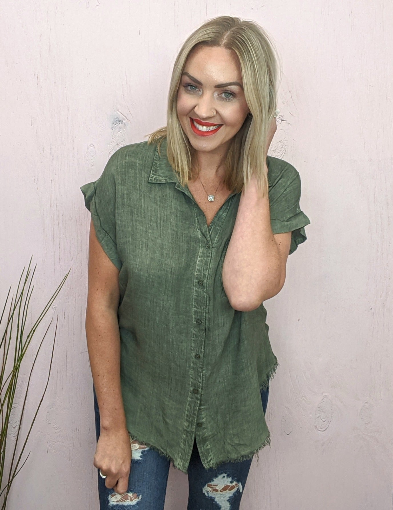 Nile Acid Wash Olive Button Top
