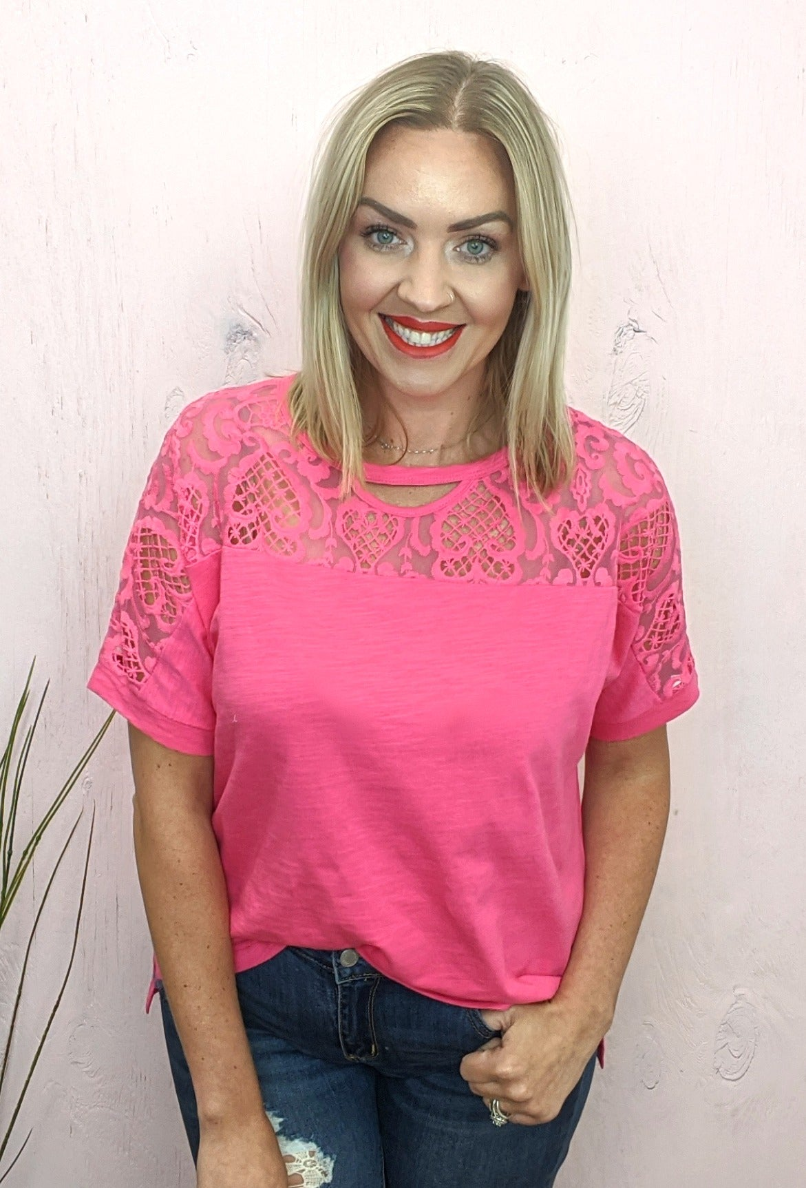 Lucy Crochet Hot Pink Top