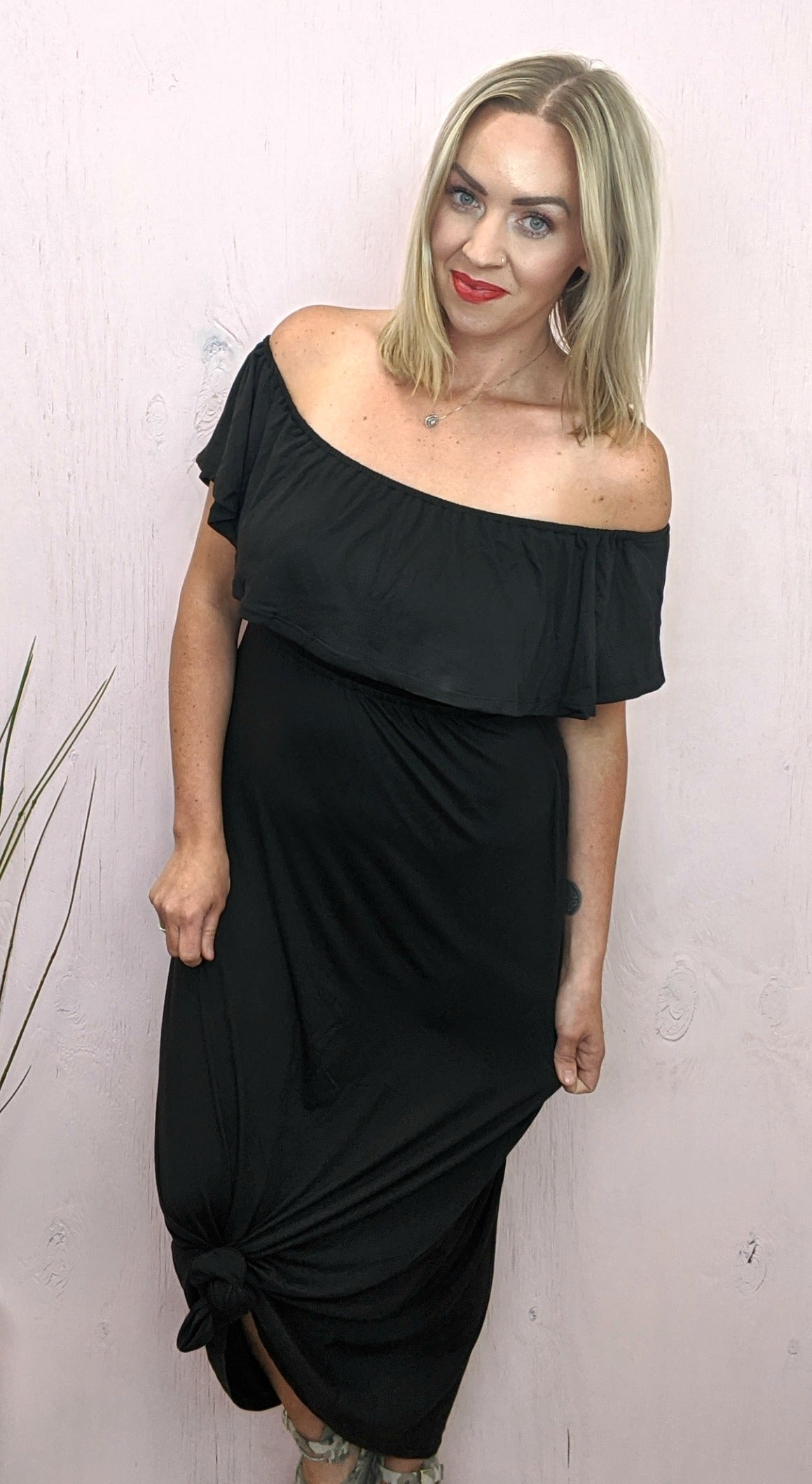 Morgan Off Shoulder Black Maxi Dress