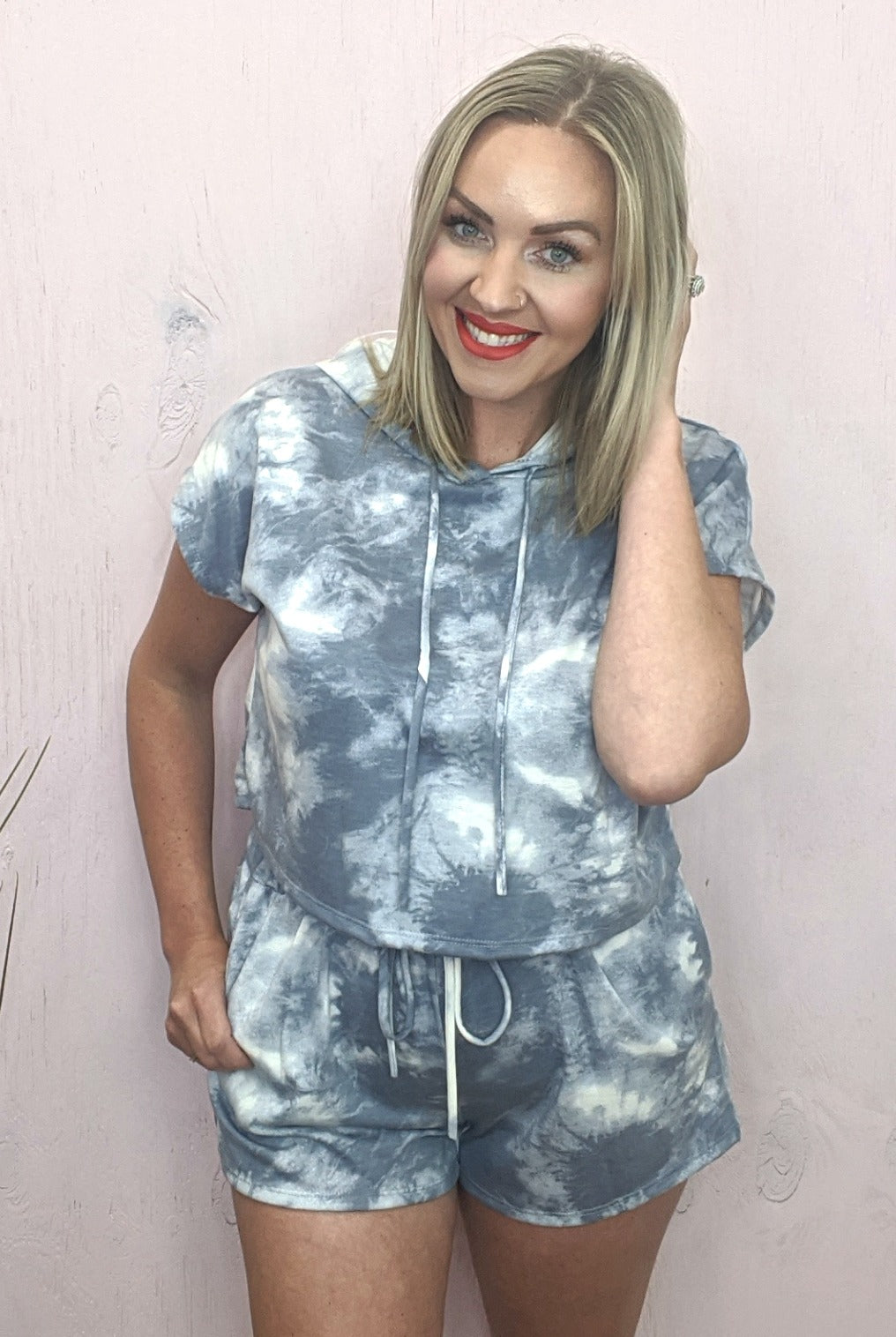 Christa Slate Blue Tie Dye Top