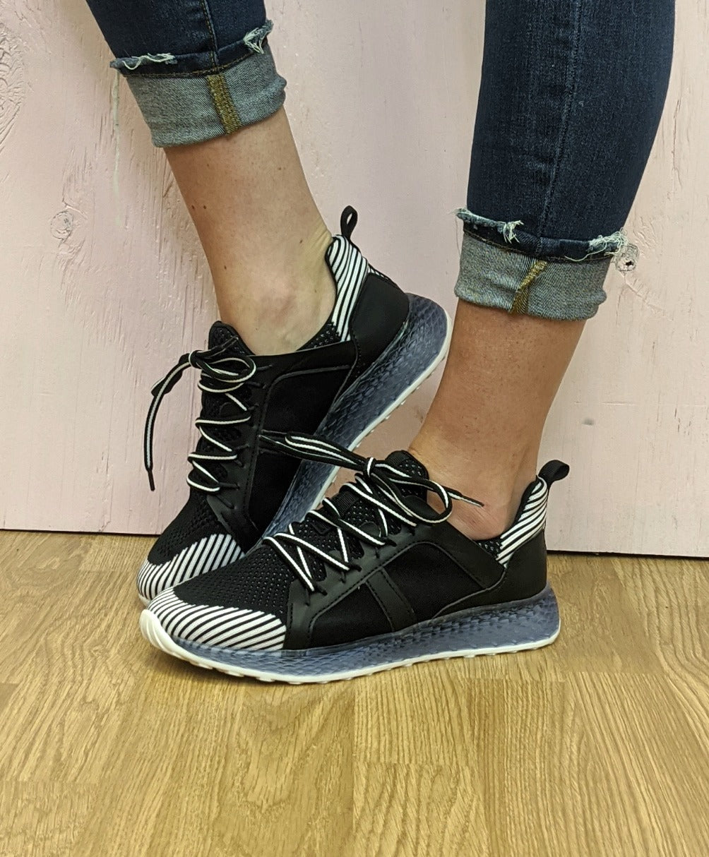 Black Fly Knit Tennis Shoes *Final Sale*