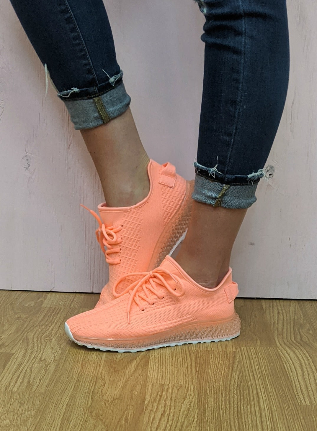 Neon Coral Fly Knit Tennis Shoes *Final Sale*