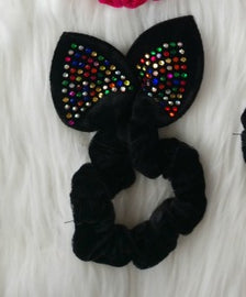 Black Multi-Jeweled Rabbit Scrunchie