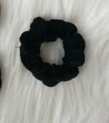 Thin Black Velvet Scrunchie
