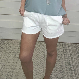 White Freyed Hem Shorts