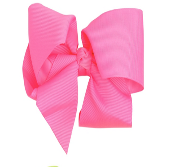 Oversized Grosgrain Bow - Hot Pink