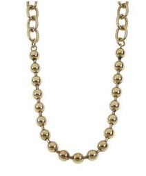 "Jane Marie 18"" Antique Linked Chain and Ball Chain Necklace - Gold"