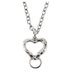 "Jane Marie Silver 36"" Necklace with Heart Charm Catcher"