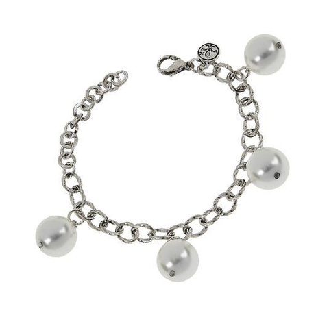 Jane Marie Antique Silver and Glass Pearl Bracelet