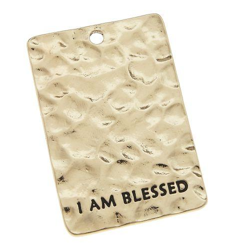 """I Am Blessed"" Antique Gold Pendant"