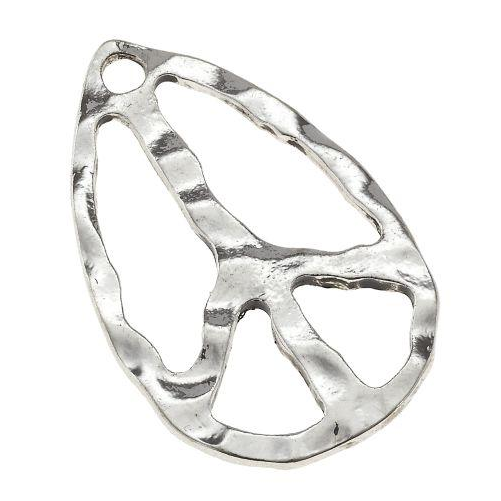 Small Antique Silver Peace Sign Pendant