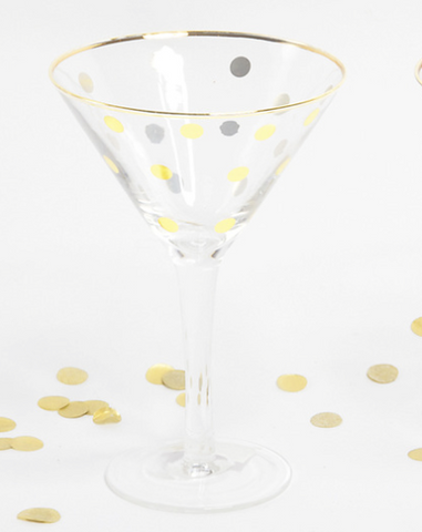 Gold Dot Martini Glass