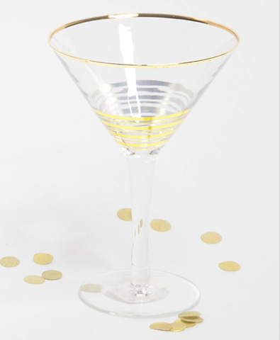 Gold Stripe Martini Glass
