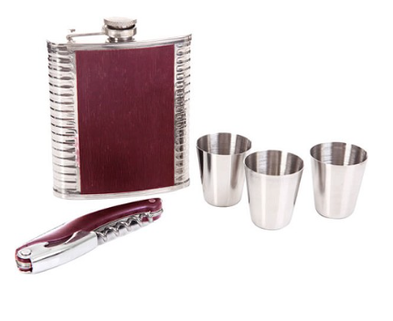 Mad Man Burgundy Flask Set