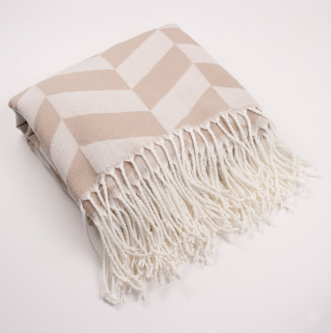 Camel & White Herringbone Throw with Fringe