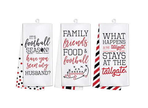 Black & Red Football Tea Towel