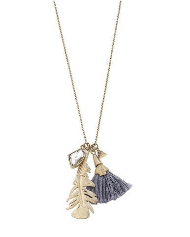 Feather Tassel Charm Necklace