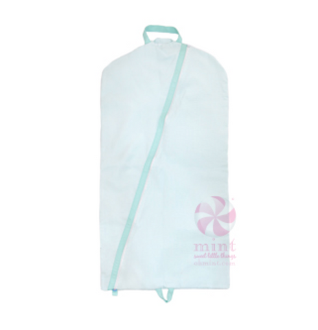 Aqua Seersucker Hanging Garment Bag